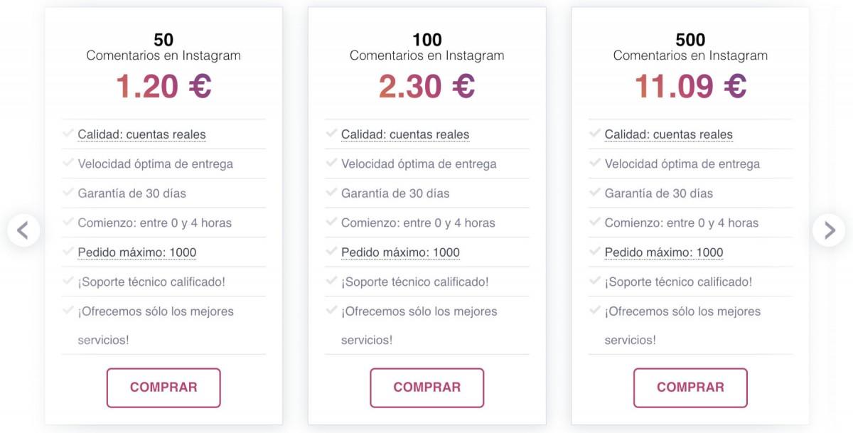 comprar comentarios Instagram baratos